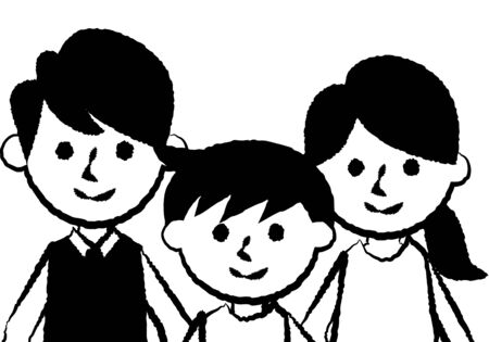 Smiling family of three. Father, mother and son. Upper body. Vector illustration. Vectores