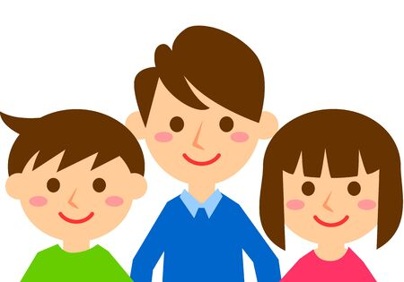 Smiling family of three. Father, son and daughter. Upper body. Vector illustration. Çizim
