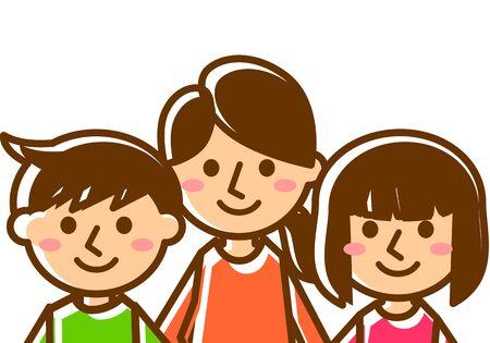 Sorridente famiglia di tre persone. Madre, figlio e figlia. Torace. Illustrazione vettoriale.
