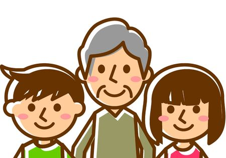 Smiling family of three. Grandfather, Grandson and Granddaughter. Upper body. Vector illustration.