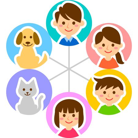 Happy family with cirlce. Parents, children and pets. Vector illustration.  Illustration