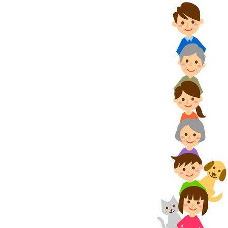 Happy family in a row. Grandparents, parents, children and pets. Vector illustration.