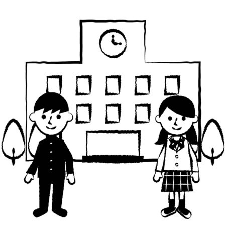 Students and school. Male and female students in uniforms. Vector illustration.  Illustration