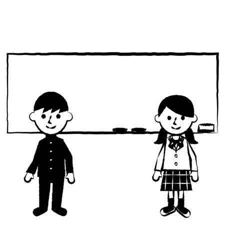Students and blackboard. Male and female students in uniforms. Vector illustration.
