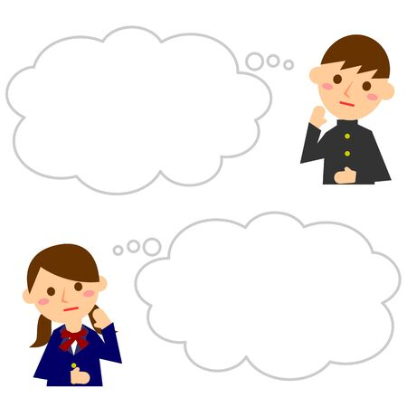 Students and speech bubble. Male and female students in uniforms. Vector illustration.  Illustration