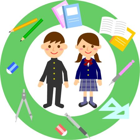 Students and stationery. Male and female students in uniforms. Vector illustration.  Illustration