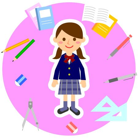 Student surrounded by stationery. female student in uniform. Vector illustration.