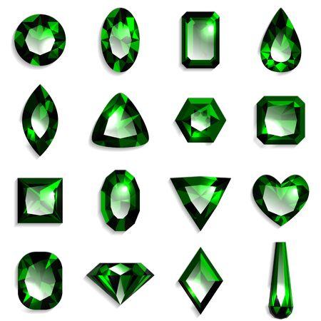 Set of green gemstones of various shapes. Jewels on white background. Vector illustration.