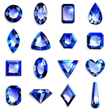 Ensemble de pierres précieuses bleues de différentes formes. Bijoux sur fond blanc. Illustration vectorielle.