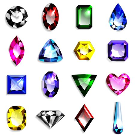 Set of colorful gemstones of various shapes. Jewels on white background. Vector illustration.