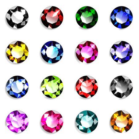 Conjunto de piedras preciosas de talla redonda de colores. Joyas sobre fondo blanco. Ilustración de vector. Ilustración de vector