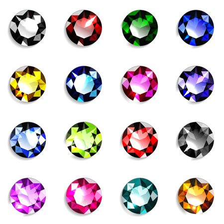 Set of colorful round cut gemstones. Jewels on white background. Vector illustration. Vector Illustratie