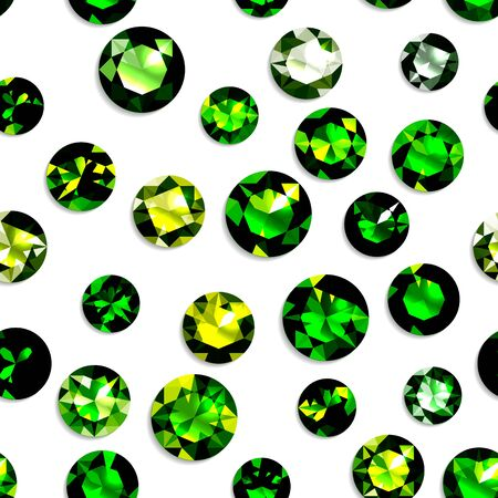Seamless pattern with green gemstones. Jewels on white background. Vector illustration. Vettoriali