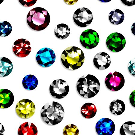 Seamless pattern with colorful gemstones. Jewels on white background. Vector illustration.