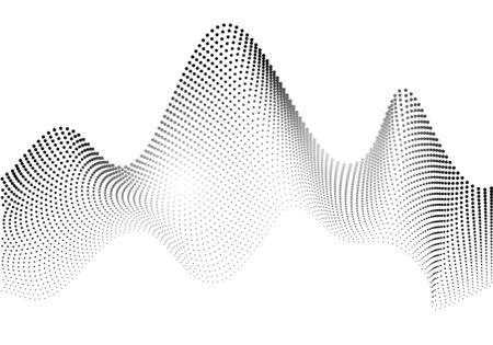 Ondas de partículas. Fondo abstracto creado por una colección de puntos. Ilustración de vector. Ilustración de vector