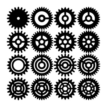 Set of gear wheels. Black and white silhouettes. vector illustration.