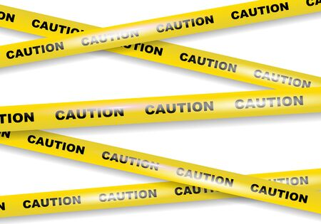 Caution tapes on white background vector image
