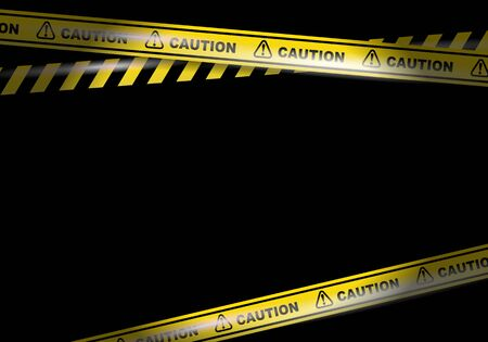 Caution tapes on black background vector image Illustration