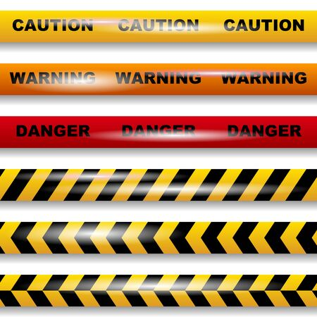 Set of seamless caution tapes on white background vector image Vetores