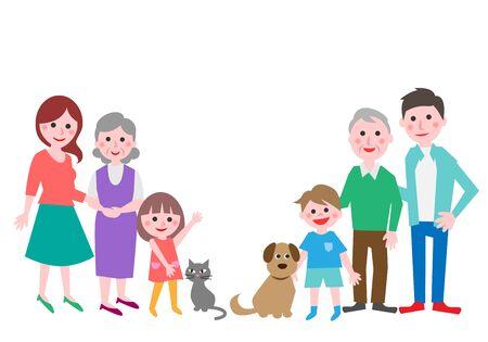 Drei-Generationen-Familie mit Hund und Katze. Vektor-Illustration.