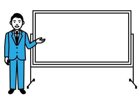 Young men with whiteboard on white background. Vector illustration.