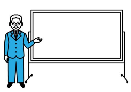 Senior man with whiteboard on white background. Vector illustration.