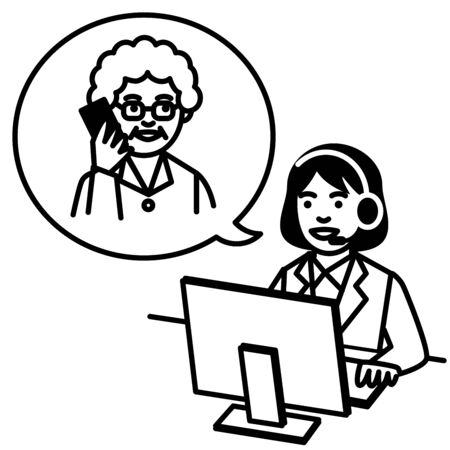 Call center operator talking with woman. Vector illustration. Illustration