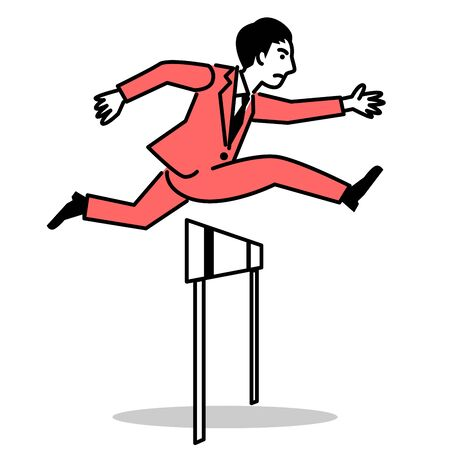 Business man jumping over hurdle. Vector illustration.