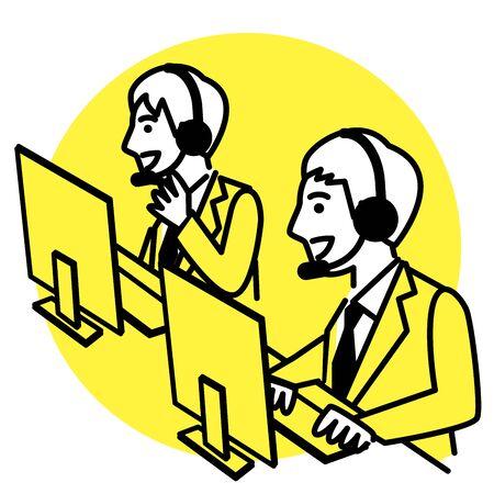 Call center operator. men in headset. Vector illustration.