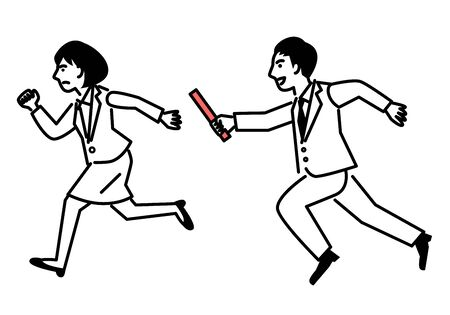 Passing the baton from man to woman. Vector illustration.