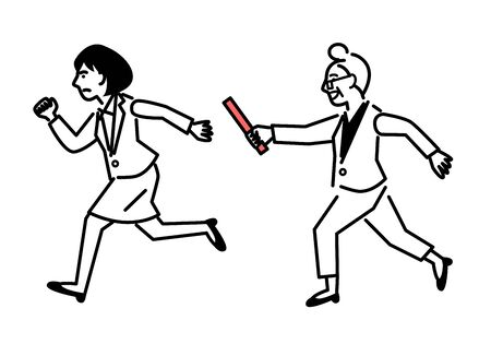 Passing the baton from elderly woman to young woman. Vector illustration.