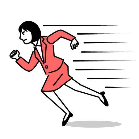 Business woman running fast. Vector illustration.