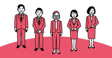 Group of business people on white background. Vector illustration.