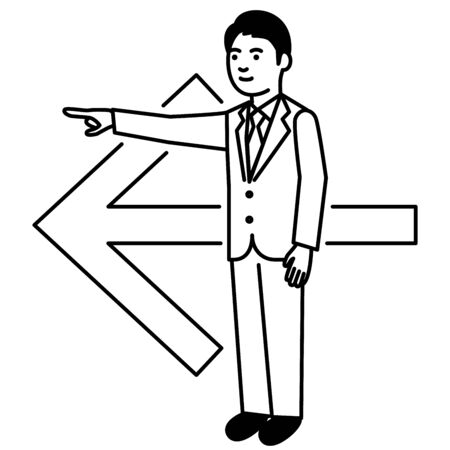 Business man with arrow on white background. Vector illustration.