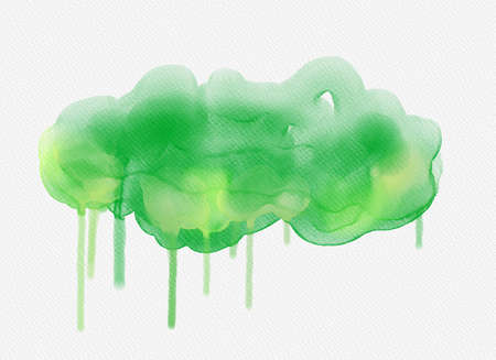 Abstract watercolor drawing on white background. Graphic design elements. Painted in green color.