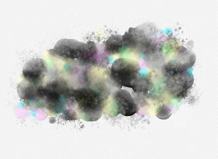 Abstract watercolor drawing on white background. Graphic design elements. Painted in black color.