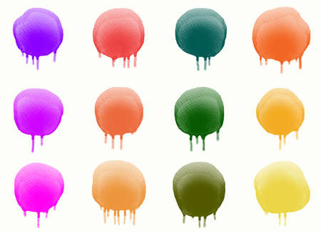 Abstract watercolor drawing. Set of paint drips. Graphic design elements. Painted in multi color.
