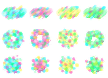Abstract watercolor drawing. Set of Multiple dots. Graphic design elements. Painted in multi color.