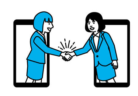Business people shaking hands through smartphone. Vector illustration.