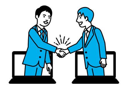 Business people shaking hands through laptop. Vector illustration. Ilustração
