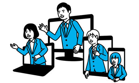 Business people and multi device. Vector illustration.