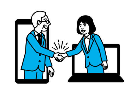 Business people shaking hands through smartphone and laptop. Vector illustration. Ilustração