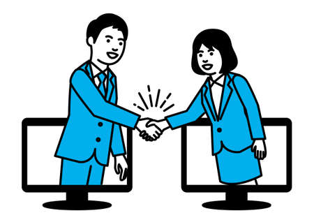 Business people shaking hands through computer. Vector illustration. Ilustração