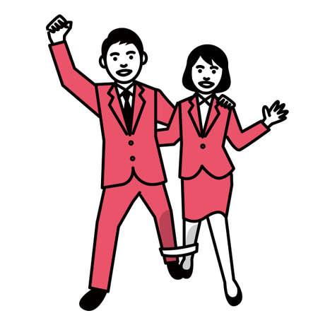 Three legged race by businessman and businesswoman. Vector illustration. Ilustração