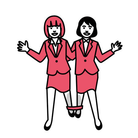 Three legged race by businesswoman. Vector illustration.