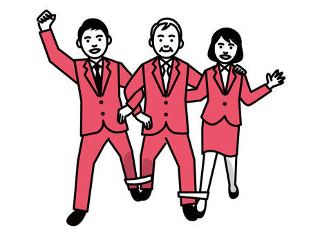 Four legged race by Business people. Vector illustration.