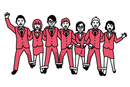 Eight legged race by Business people. Vector illustration.