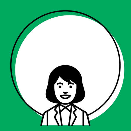 Round frame with businesswoman. Vector illustration.