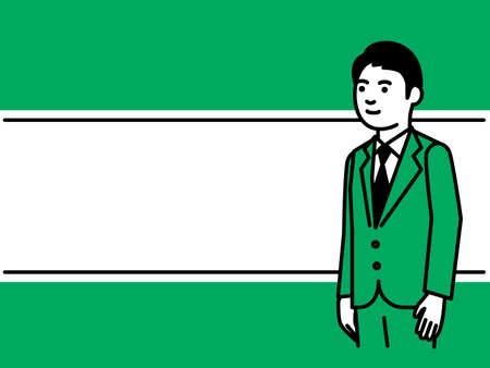 Line frame with businessman. Vector illustration. Иллюстрация