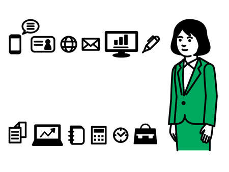 Business tools with businesswoman. Vector illustration.